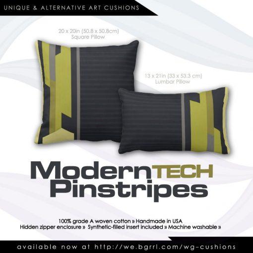 Modern Style Charcoal Pinstripe Green Cushions / Throw Pillows by webgrrl