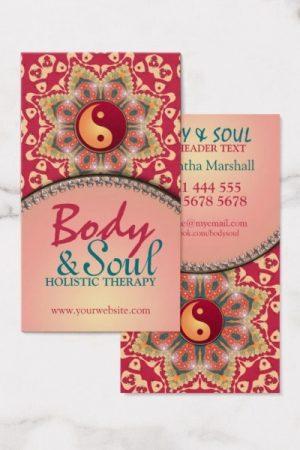 Yoga Balance Bohemian Flower YinYang Business Card