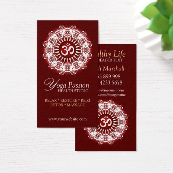 Yoga Om Passion New Age Business Cards | Unique Designs & Alternative Styles