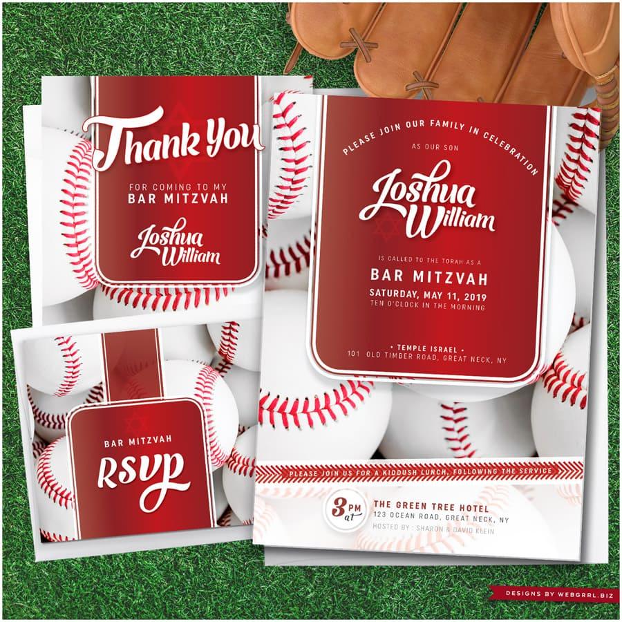 Baseball Bar Mitzvah Invitation | Red and White Sports theme by Webgrrl