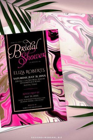 Pink Gold Black Marble Bridal Shower Invitation