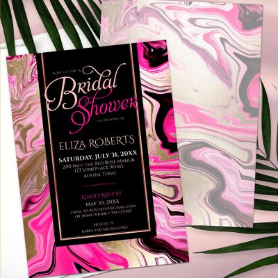Pink Gold Black Marble Bridal Shower Invitation