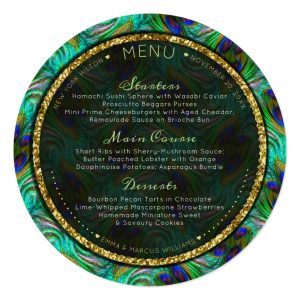 Peacock Feathers Gold Round Wedding Menu Cards Template