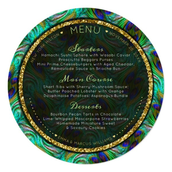 Pea Feathers Gold Round Wedding Menu Cards Template