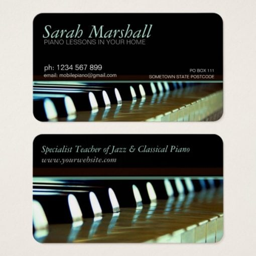 Piano Keyboards Music Teacher Business card - back & front