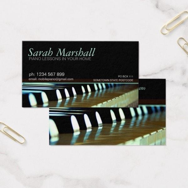 Piano Teacher Music Business Card Zazzle
