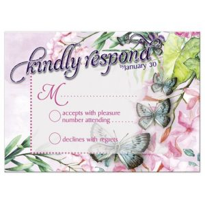 Watercolor Flowers & Butterflies RSVP Card