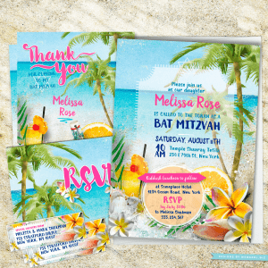 Beach Themed Bat Mitzvah   Beach Party Bat Mitzvah Invitation Suite