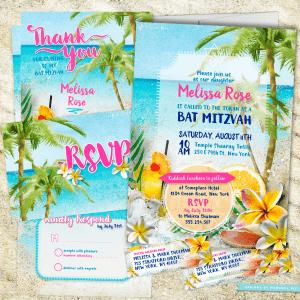 Beach Themed Bat Mitzvah | Beach Party Bat Mitzvah Invitation