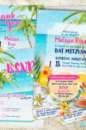 Beach Themed Bat Mitzvah   Beach Party Bat Mitzvah Invitation