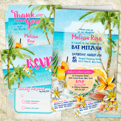 Beach Themed Bat Mitzvah | Beach Party Bat Mitzvah Invitation