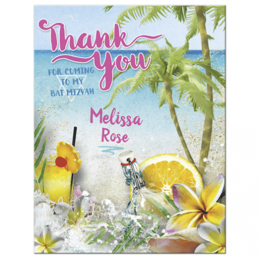 Beach Theme Thank You Card | Bat Mitzvah Beach Thank You ♥ by Webgrrl
