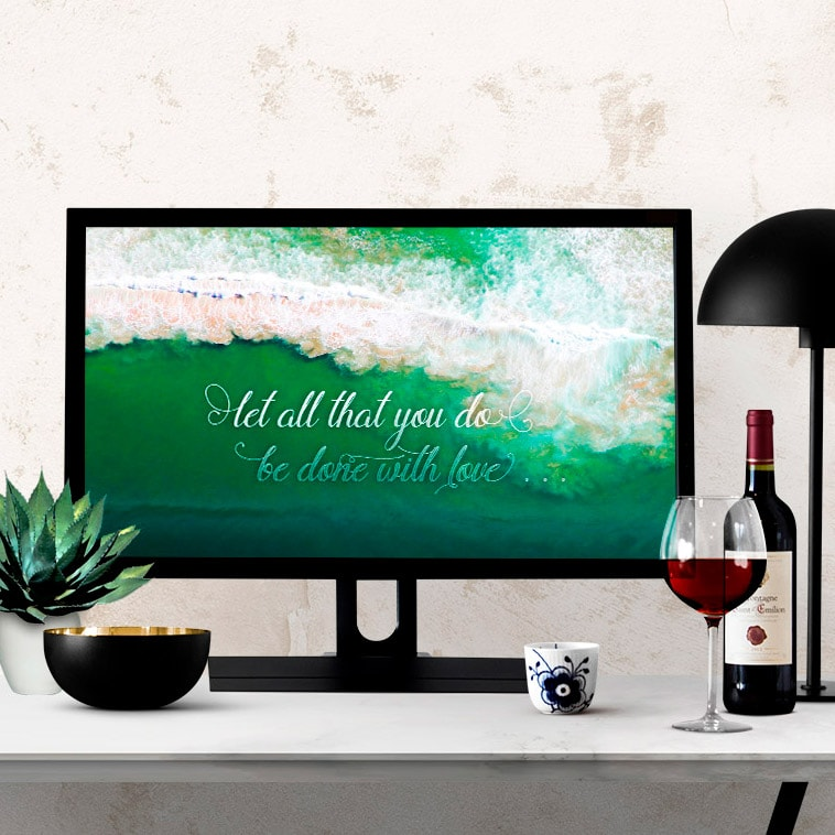 Do with Love Quote Ocean Waves Wallpaper Freebie