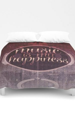 music is my happiness   music theme quilt cover
