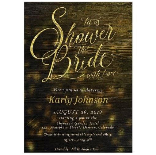 Rustic Bridal Shower Invitation | Sparkly Gold on Dark Wood