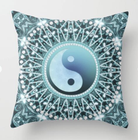 Throw Pillow ♦ Tranquility Yin Yang Blue Aqua Mandala by Webgrrl