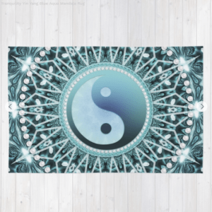 Throw Pillow 6 Tranquility Yin Yang Blue Aqua Mandala by Webgrrl