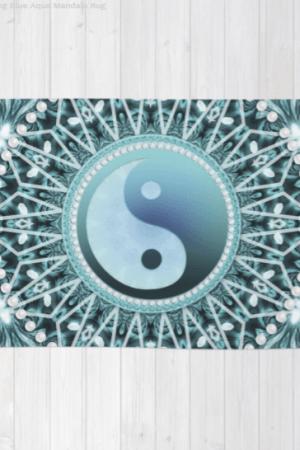 Tranquility Yin Yang Blue Aqua Mandala Floor Rugs
