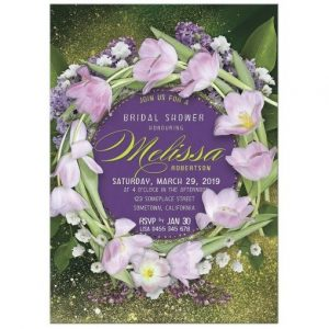 Tulips Floral Wreath Bridal Shower Invitation