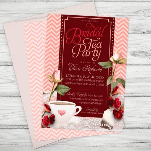 Bridal Tea Party Invite - Pink Chevron Roses Tea Cup - designs © webgrrl.biz