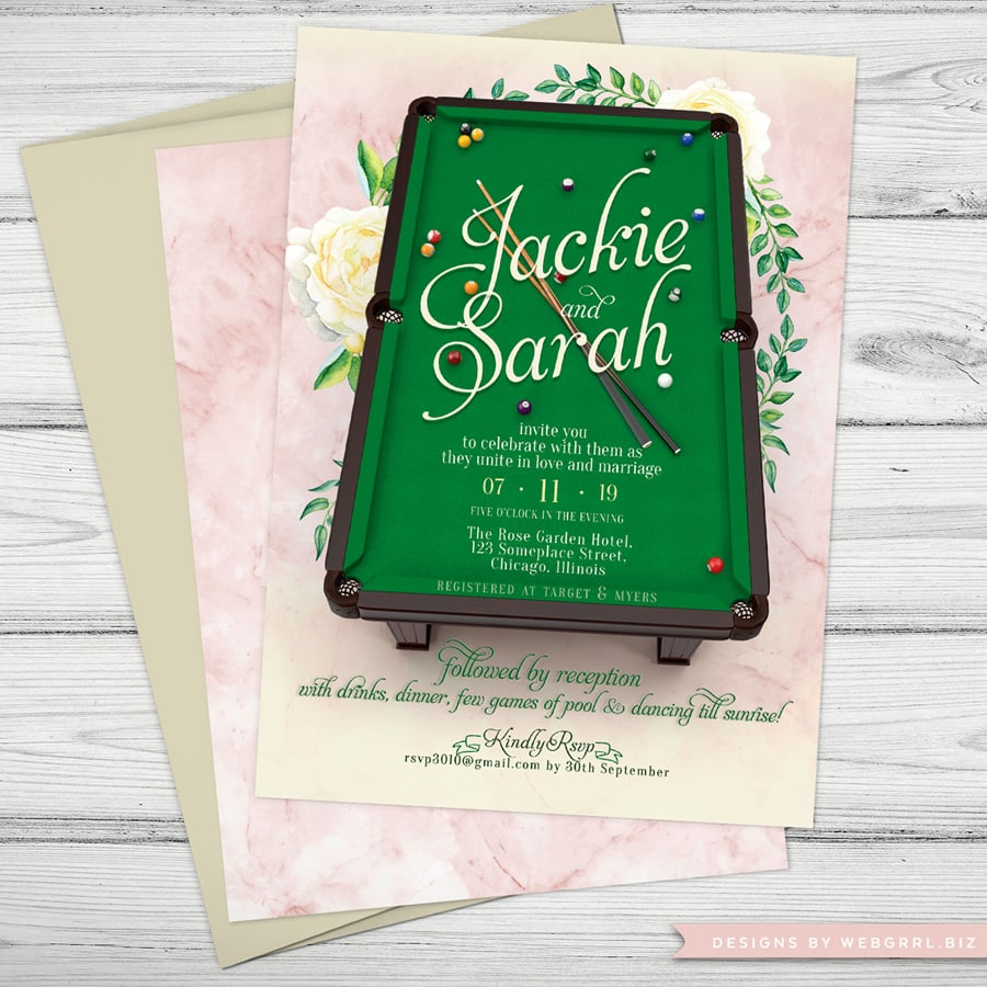 Same-sex Wedding - Pool Table Wedding Invitations by Webgrrl