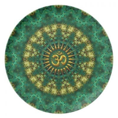 Golden Om & Nature Green Mandala Art Plate by webgrrl