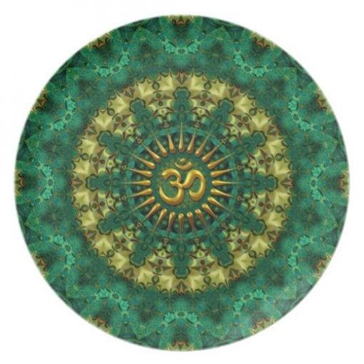 Golden Om & Nature Green Mandala Art Plate by webgrrl