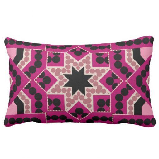 Patchwork Geometric Star Hot Pink Cushion by webgrrl