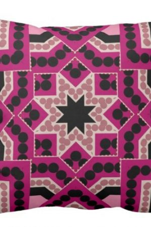Patchwork Geometric Star Hot Pink Cushionby webgrrl