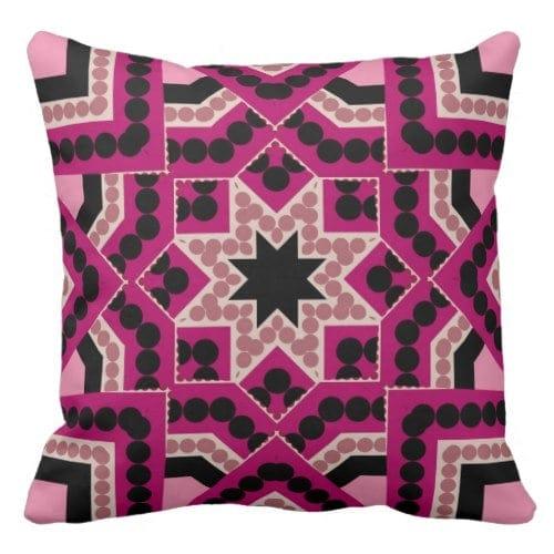 Patchwork Geometric Star Hot Pink Cushionby webgrrl