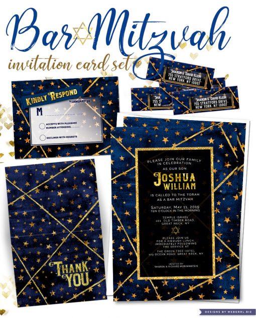 Navy Blue and Gold Stars Geometric Watercolor Bar Mitzvah Invitation set