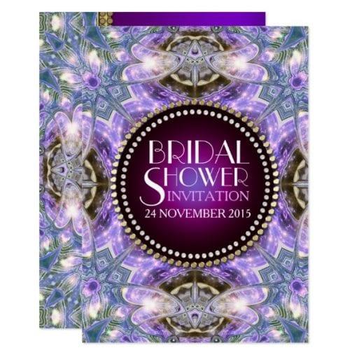 Lilac Geo Dragonfly Magic Bridal Shower Invitation by AlternativeWeddings