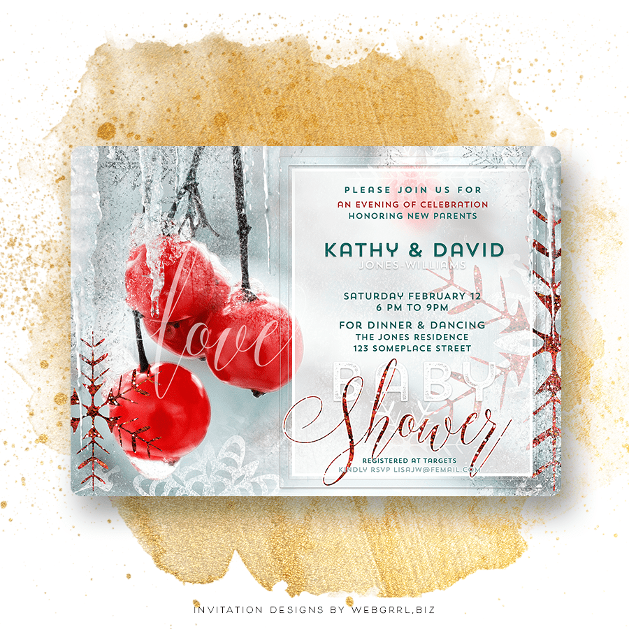 Winter Love Couple's Baby Shower Invitation by Webgrrl