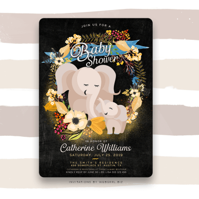 Baby Mama Elephant Floral Boho Baby Shower Invitation