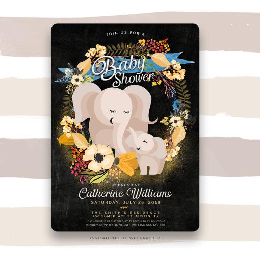 Baby Mama Elephant Floral Boho Baby Shower Invitation