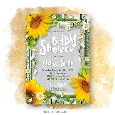 Urban Rustic Sunflowers Baby Shower Invitation
