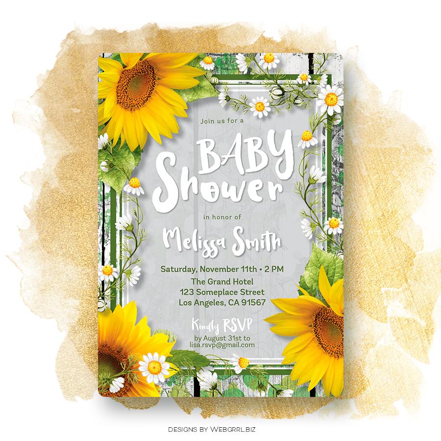 Urban Rustic Sunflowers Baby Shower Invitation Lemon Leaf Prints