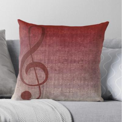 Clef Music Symbol   Vintage Grunge Music Sheet Throw Pillows   Redbubble