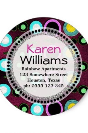 Funky Colours Polka Dots Return Address Round Classic Round Sticker by Paperstation