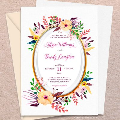Oval Watercolor Flowers Wedding Invitation