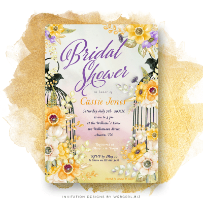 Birdcage purple and yellow shower invitations