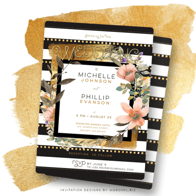 Dusky pink watercolor flowers designed with gold brushed black and white stripe pattern - Modern Chic Wedding Gold Black White Stripes & Floral Invitation