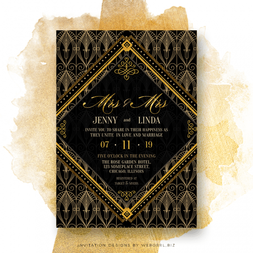 2 brides are better than one Art Deco stylish Invitation Card