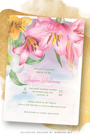 Pink Lilium Lilies Flowers Bridal Shower | Modern Watercolor Florals