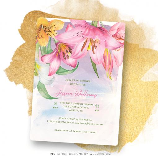 Pink Lilium Lilies Flowers Bridal Shower | Modern Watercolor Florals