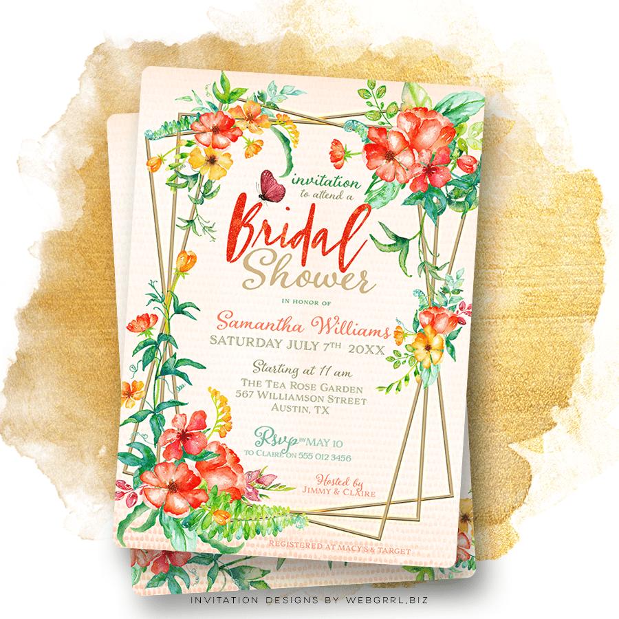 28e601d2adb Tropical Watercolor Flowers Bridal Shower Invitation
