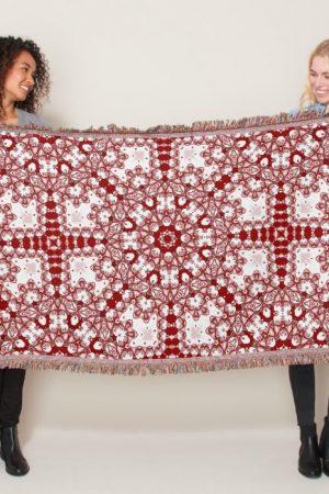 Azra • Red and White Geometric Mandala Throw by webgrrl