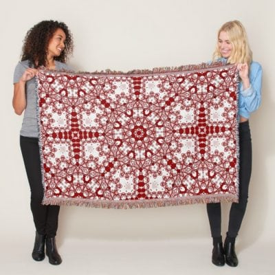 Azra • Red and White Geometric Mandala Throw by webgrrl