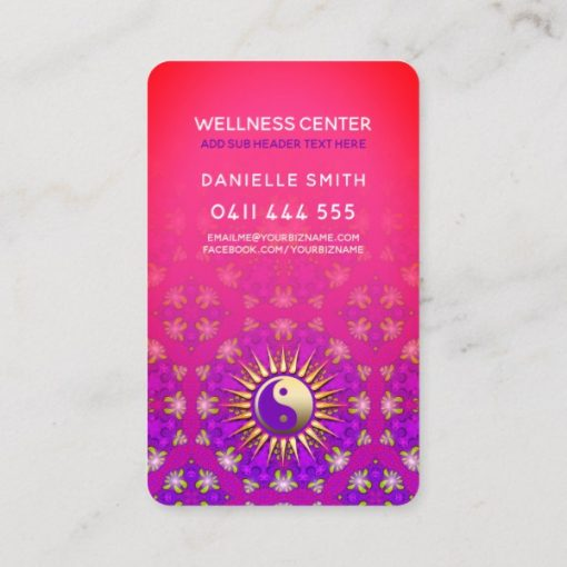 Indigo Purple & Pink Yin Yang Holistic Asana Yoga Business Card