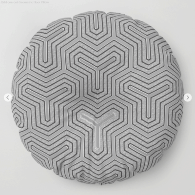 'Odd one out' Geometric Floor Pillow by Webgrrl